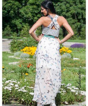 Butterfly Cotton And Chiffon Dress 4