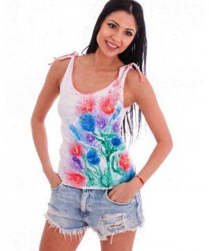 Hand painted shirt flowers 2