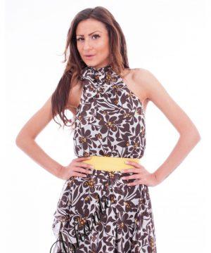 Linen off shoulder dress 1