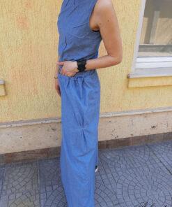 long summer linen dress denim blue