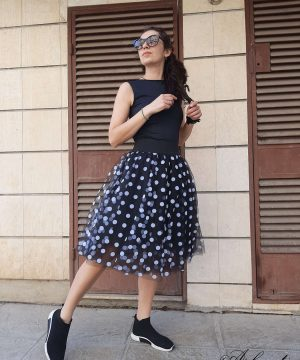 Short Black Polka dot Skirt