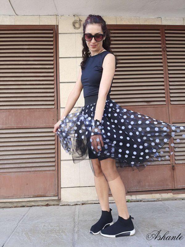 Short Black Polka dot Skirt