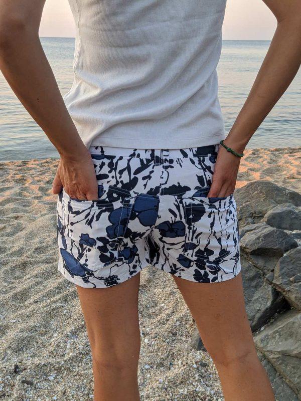 Short Summer Skirt Shorts, Asymmetrical, Floral Motif