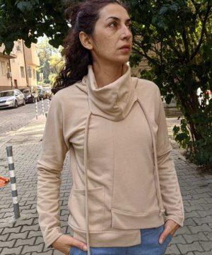 Asymmetrical collar blouse with built in Bandana, (1)