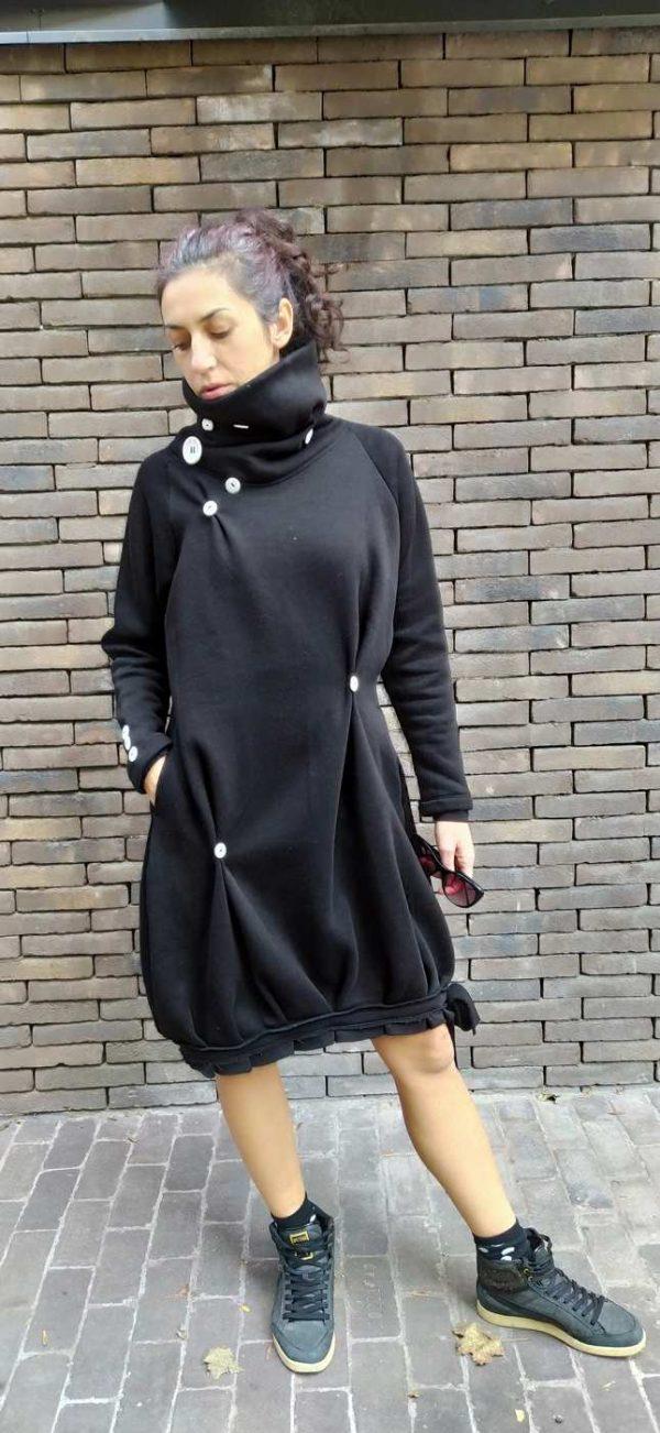 Warm, black dress with a high neck