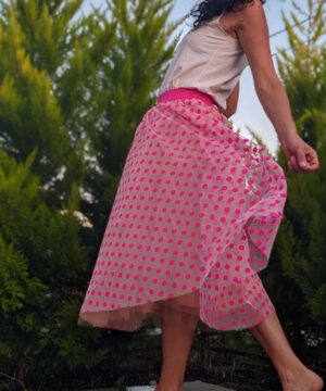 Tulle midi length skirt